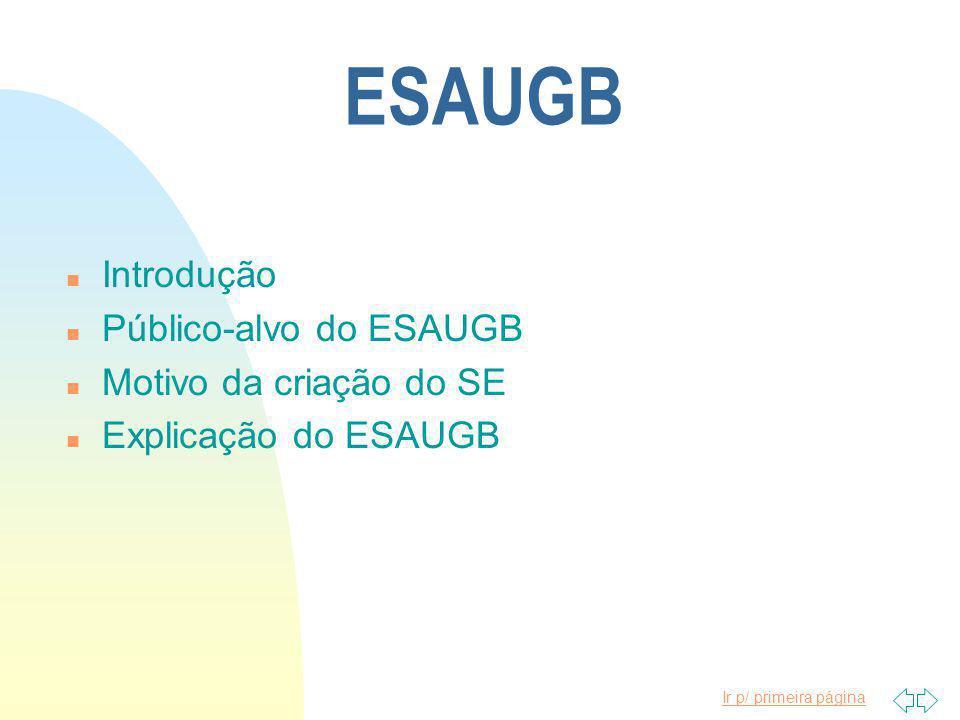 Ir p/ primeira página ESAUGB n Introdução n Público-alvo do ESAUGB n Motivo da criação do SE n Explicação do ESAUGB