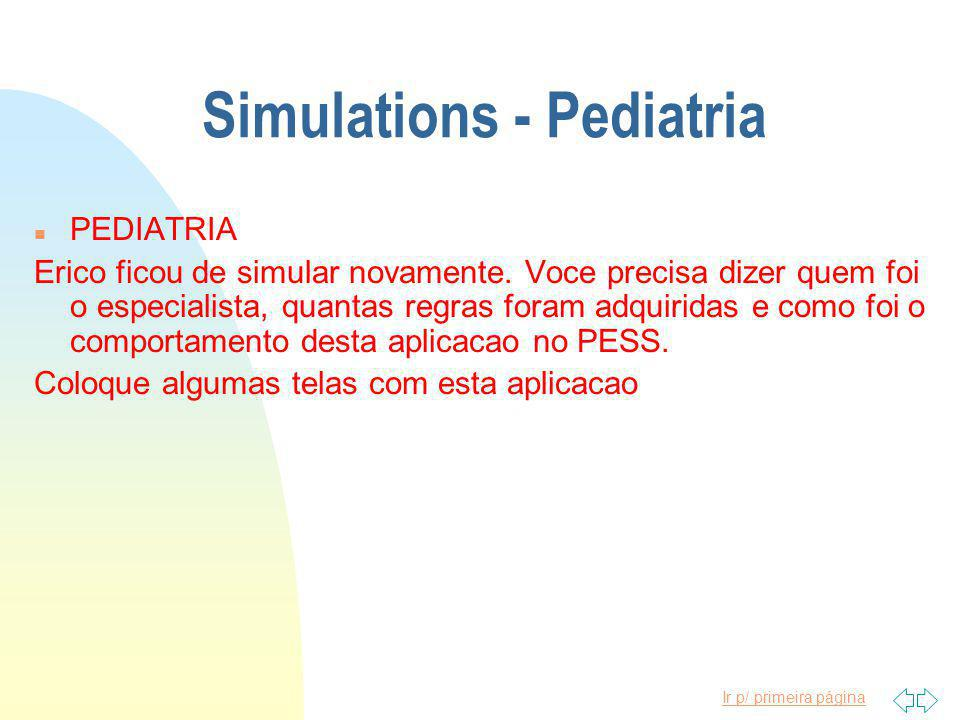 Ir p/ primeira página Simulations - Pediatria n PEDIATRIA Erico ficou de simular novamente.