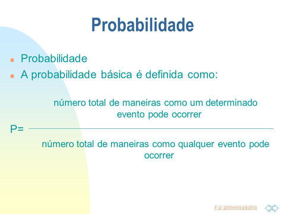 Ir p/ primeira página Probabilidade n Probabilidade n A probabilidade básica é definida como: número total de maneiras como um determinado evento pode ocorrer P= número total de maneiras como qualquer evento pode ocorrer
