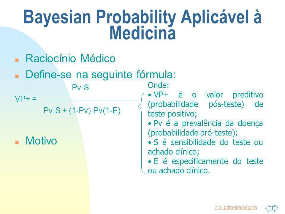 Ir p/ primeira página Bayesian Probability Aplicável à Medicina n Raciocínio Médico n Define-se na seguinte fórmula: Pv.S VP+ = Pv.S + (1-Pv).Pv(1-E) n Motivo Onde: VP+ é o valor preditivo (probabilidade pós-teste) de teste positivo; Pv é a prevalência da doença (probabilidade pró-teste); S é sensibilidade do teste ou achado clínico; E é especificamente do teste ou achado clínico.