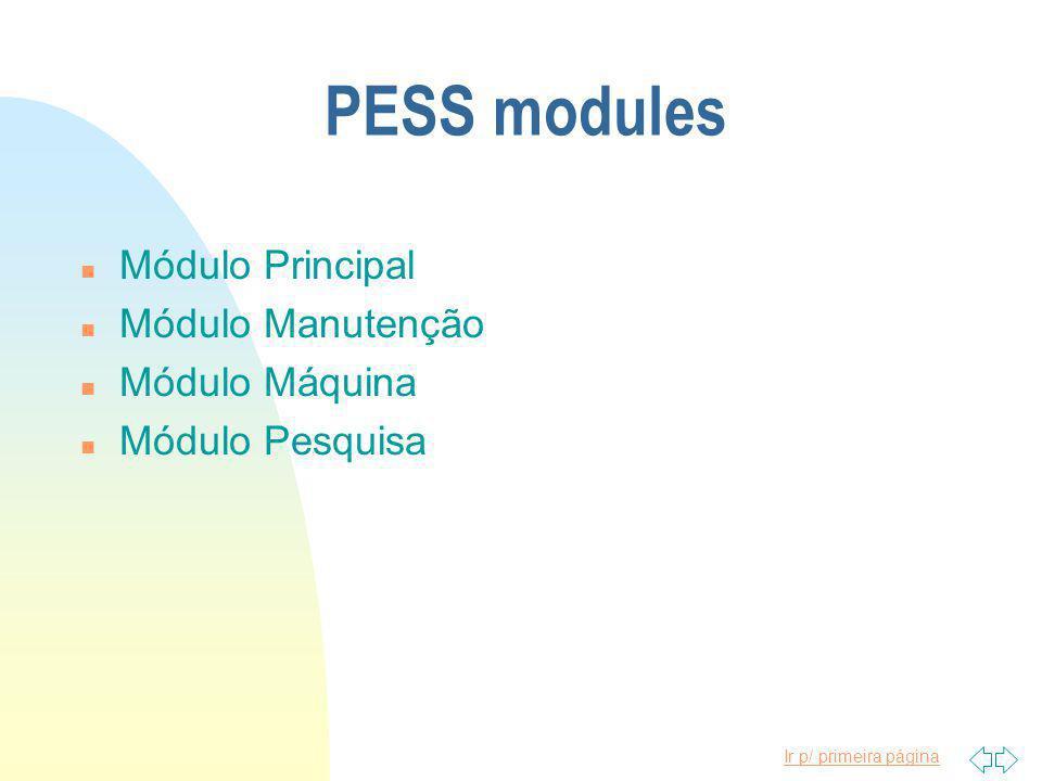 Ir p/ primeira página PESS modules n Módulo Principal n Módulo Manutenção n Módulo Máquina n Módulo Pesquisa