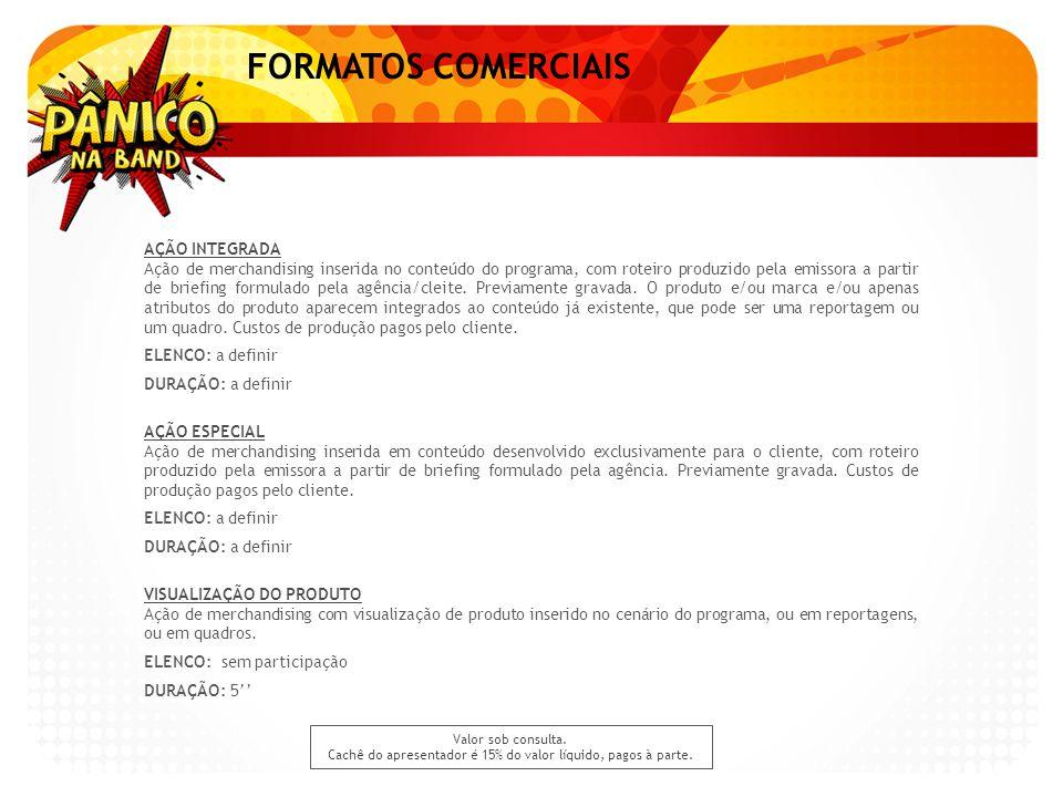 FORMATOS COMERCIAIS AÇÃO INTEGRADA Ação de merchandising inserida no conteúdo do programa, com roteiro produzido pela emissora a partir de briefing fo