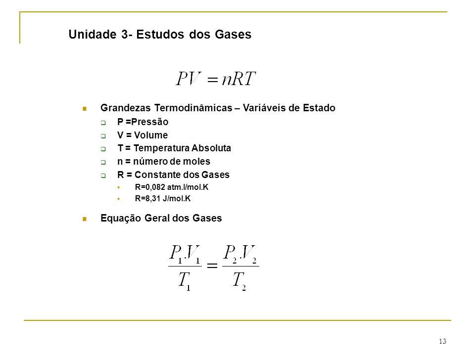 13 Unidade 3- Estudos dos Gases Grandezas Termodinâmicas – Variáveis de Estado  P =Pressão  V = Volume  T = Temperatura Absoluta  n = número de moles  R = Constante dos Gases  R=0,082 atm.l/mol.K  R=8,31 J/mol.K Equação Geral dos Gases