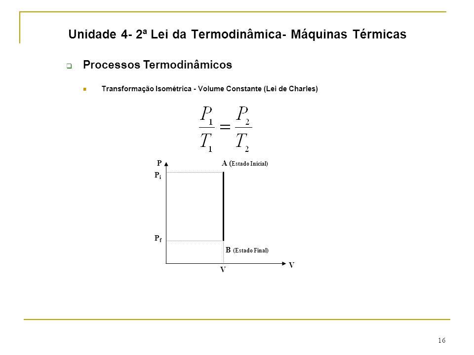 16 Unidade 4- 2ª Lei da Termodinâmica- Máquinas Térmicas  Processos Termodinâmicos Transformação Isométrica - Volume Constante (Lei de Charles) B (Estado Final) A ( Estado Inicial) P V V PiPi PfPf