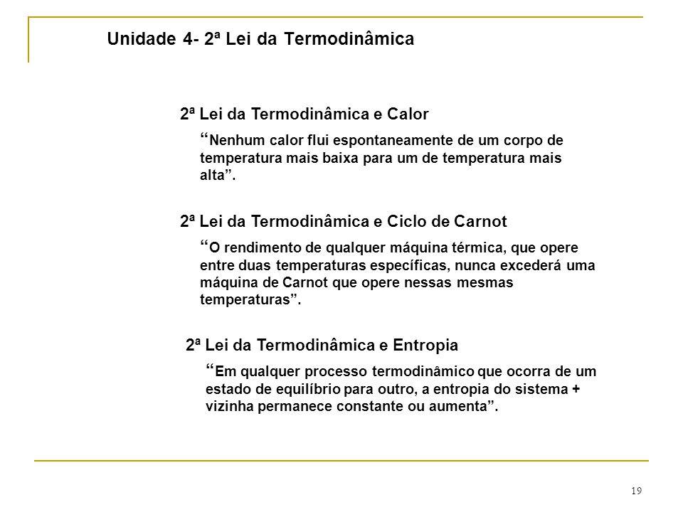 19 Unidade 4- 2ª Lei da Termodinâmica 2ª Lei da Termodinâmica e Calor Nenhum calor flui espontaneamente de um corpo de temperatura mais baixa para um de temperatura mais alta .