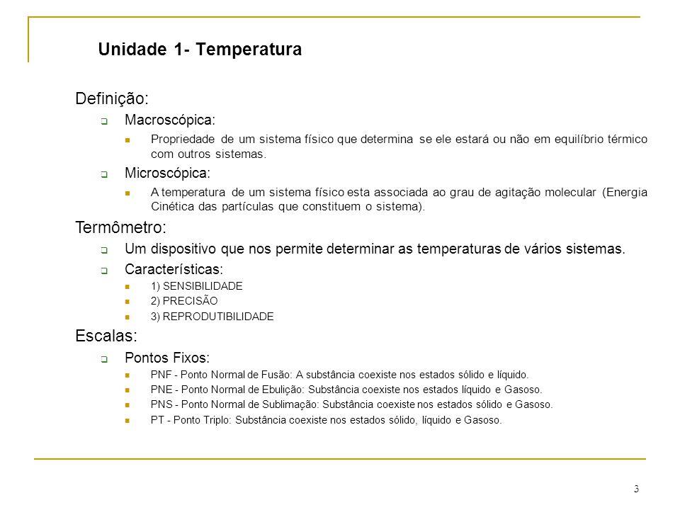 3 Unidade 1- Temperatura Definição:  Macroscópica: Propriedade de um sistema físico que determina se ele estará ou não em equilíbrio térmico com outros sistemas.