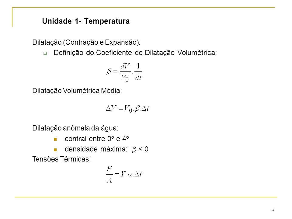4 Unidade 1- Temperatura Dilatação (Contração e Expansão):  Definição do Coeficiente de Dilatação Volumétrica: Dilatação Volumétrica Média: Dilatação anômala da água: contrai entre 0º e 4º densidade máxima:  < 0 Tensões Térmicas: