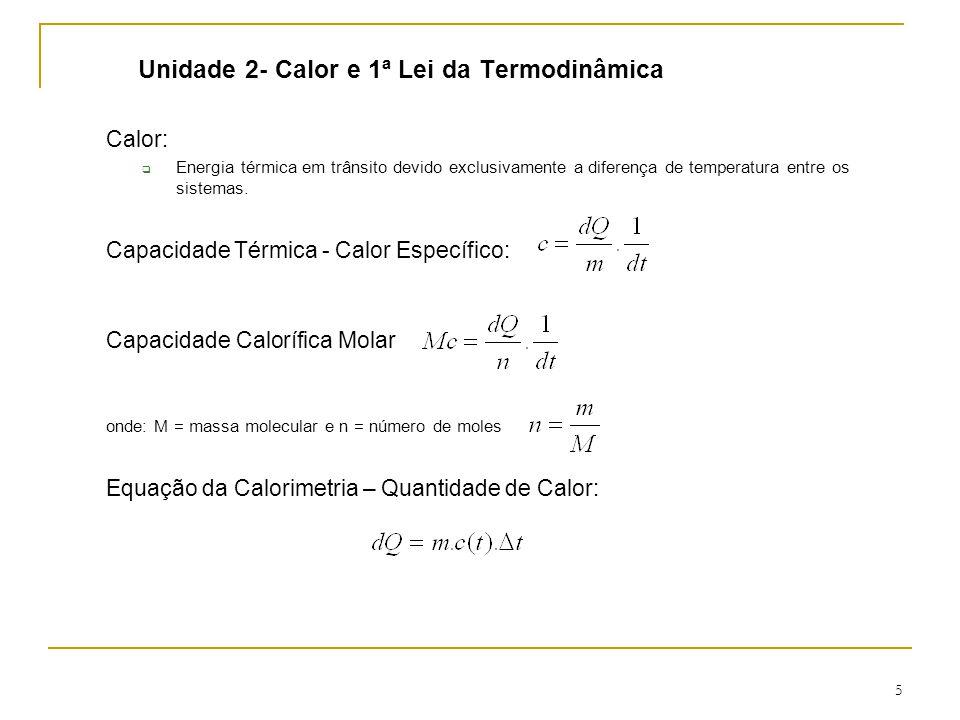 5 Unidade 2- Calor e 1ª Lei da Termodinâmica Calor:  Energia térmica em trânsito devido exclusivamente a diferença de temperatura entre os sistemas.