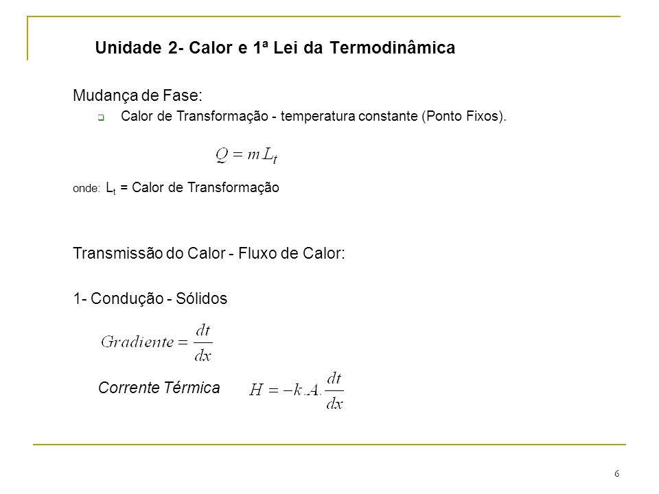 6 Unidade 2- Calor e 1ª Lei da Termodinâmica Mudança de Fase:  Calor de Transformação - temperatura constante (Ponto Fixos).