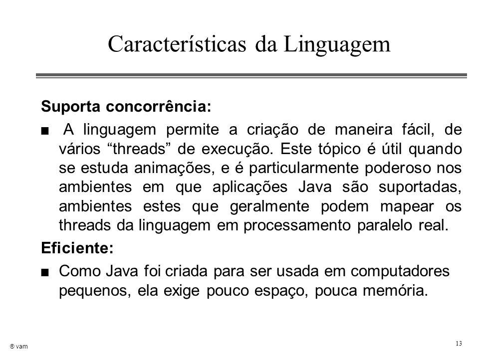 """® vam 13 Características da Linguagem Suporta concorrência: n A linguagem permite a criação de maneira fácil, de vários """"threads"""" de execução. Este tó"""