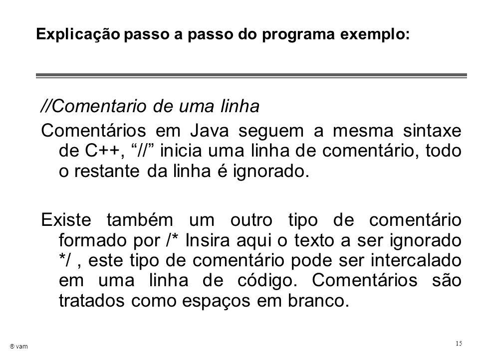 """® vam 15 Explicação passo a passo do programa exemplo: //Comentario de uma linha Comentários em Java seguem a mesma sintaxe de C++, """"//"""" inicia uma li"""