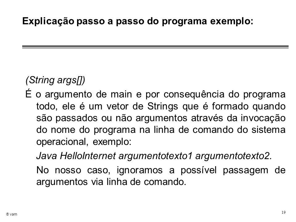 ® vam 19 Explicação passo a passo do programa exemplo: (String args[]) É o argumento de main e por consequência do programa todo, ele é um vetor de St