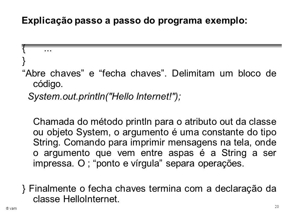 """® vam 20 Explicação passo a passo do programa exemplo: {... } """"Abre chaves"""" e """"fecha chaves"""". Delimitam um bloco de código. System.out.println("""