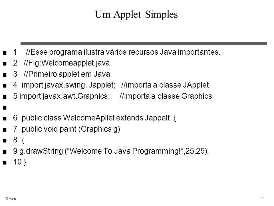 ® vam 22 Um Applet Simples n 1 //Esse programa ilustra vários recursos Java importantes. n 2 //Fig:Welcomeapplet.java n 3 //Primeiro applet em Java n