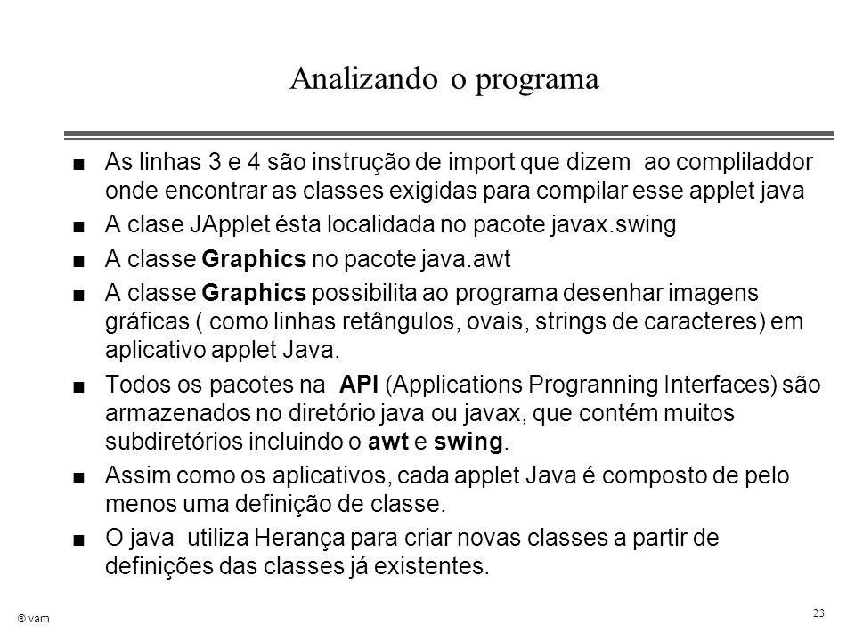 ® vam 23 Analizando o programa n As linhas 3 e 4 são instrução de import que dizem ao compliladdor onde encontrar as classes exigidas para compilar es