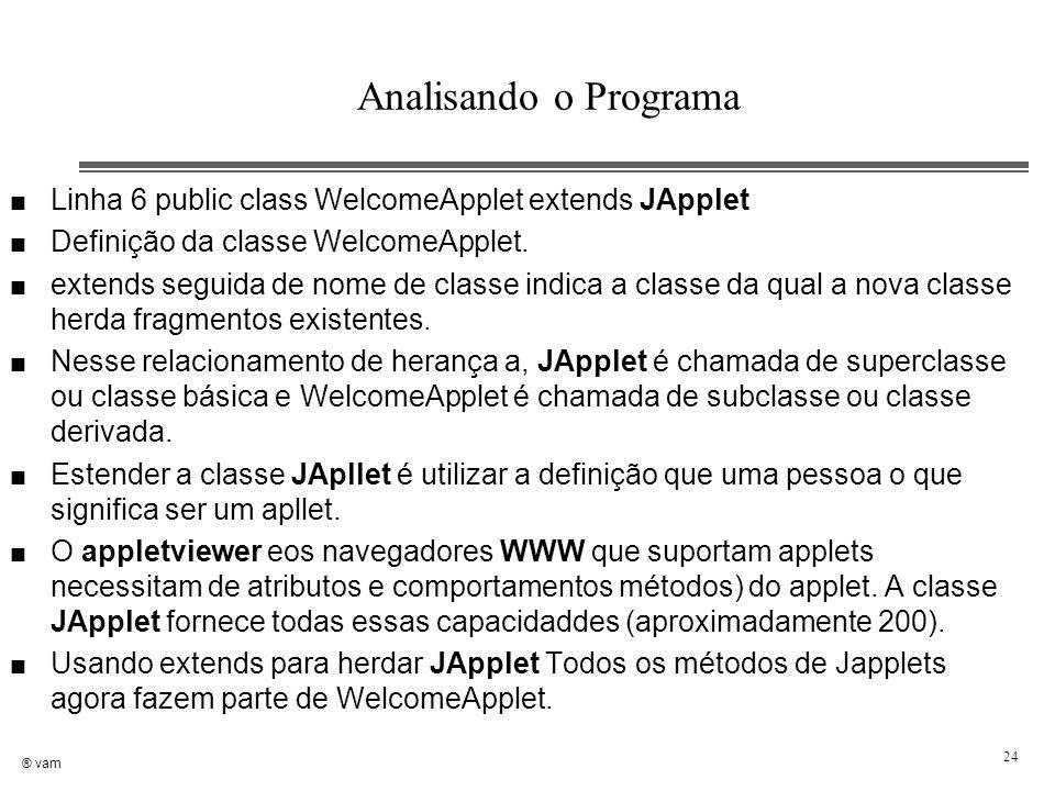 ® vam 24 Analisando o Programa n Linha 6 public class WelcomeApplet extends JApplet n Definição da classe WelcomeApplet. n extends seguida de nome de