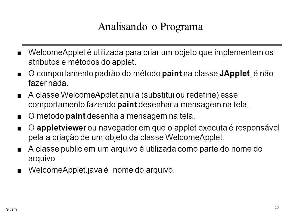 ® vam 25 n WelcomeApplet é utilizada para criar um objeto que implementem os atributos e métodos do applet. n O comportamento padrão do método paint n