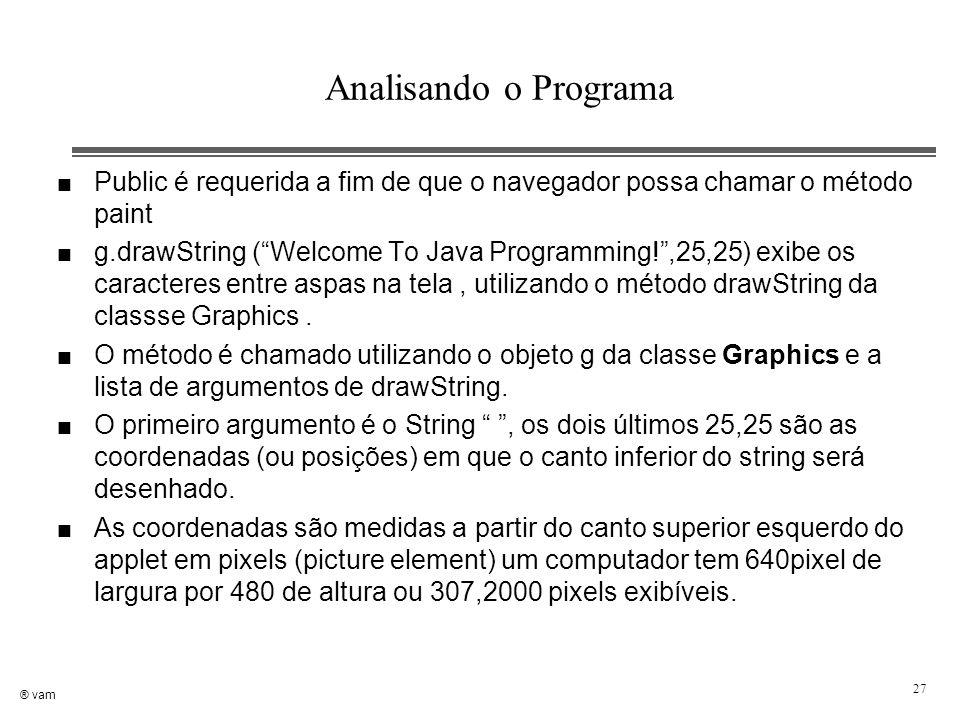 """® vam 27 Analisando o Programa n Public é requerida a fim de que o navegador possa chamar o método paint n g.drawString (""""Welcome To Java Programming!"""