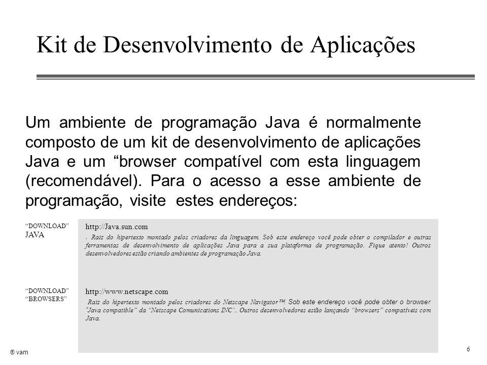 ® vam 6 Kit de Desenvolvimento de Aplicações Um ambiente de programação Java é normalmente composto de um kit de desenvolvimento de aplicações Java e