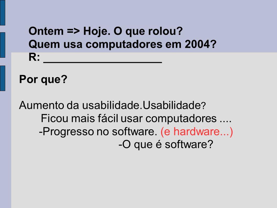 Por que? Aumento da usabilidade.Usabilidade ? Ficou mais fácil usar computadores.... -Progresso no software. (e hardware...) -O que é software? Ontem