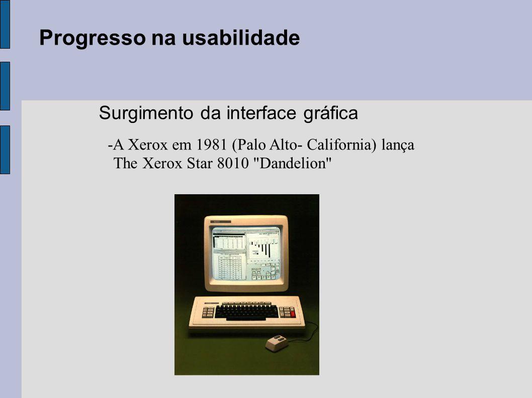 Progresso na usabilidade Surgimento da interface gráfica -A Xerox em 1981 (Palo Alto- California) lança The Xerox Star 8010