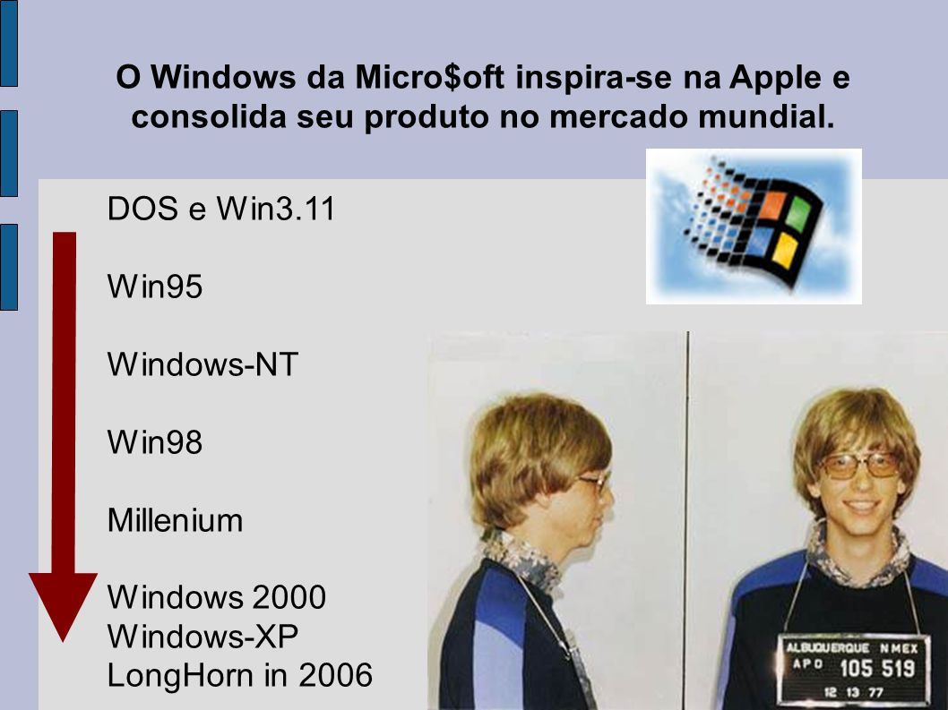 O Windows da Micro$oft inspira-se na Apple e consolida seu produto no mercado mundial. DOS e Win3.11 Win95 Windows-NT Win98 Millenium Windows 2000 Win