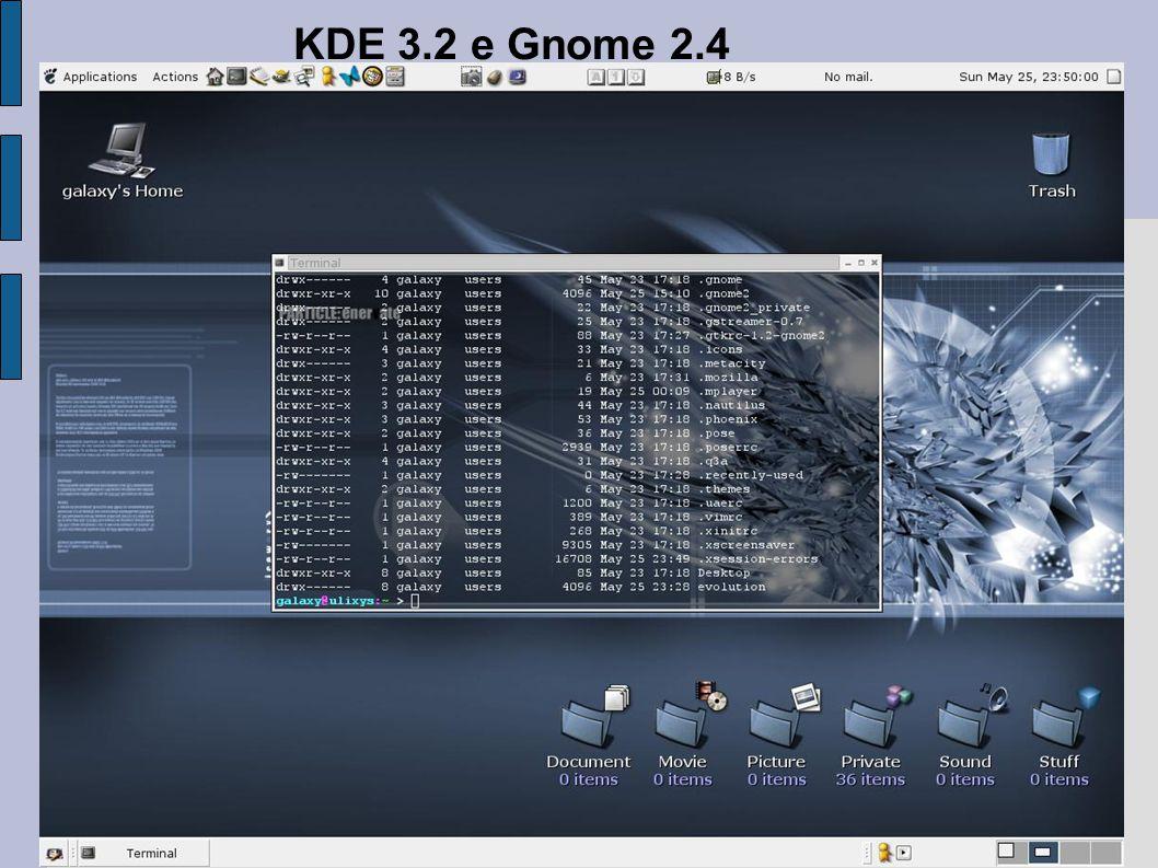 KDE 3.2 e Gnome 2.4
