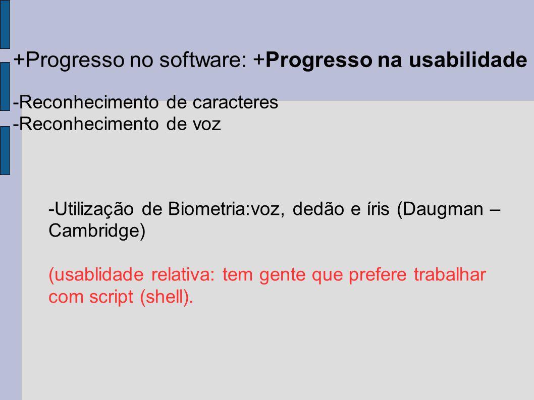 +Progresso no software: +Progresso na usabilidade -Reconhecimento de caracteres -Reconhecimento de voz -Utilização de Biometria:voz, dedão e íris (Dau