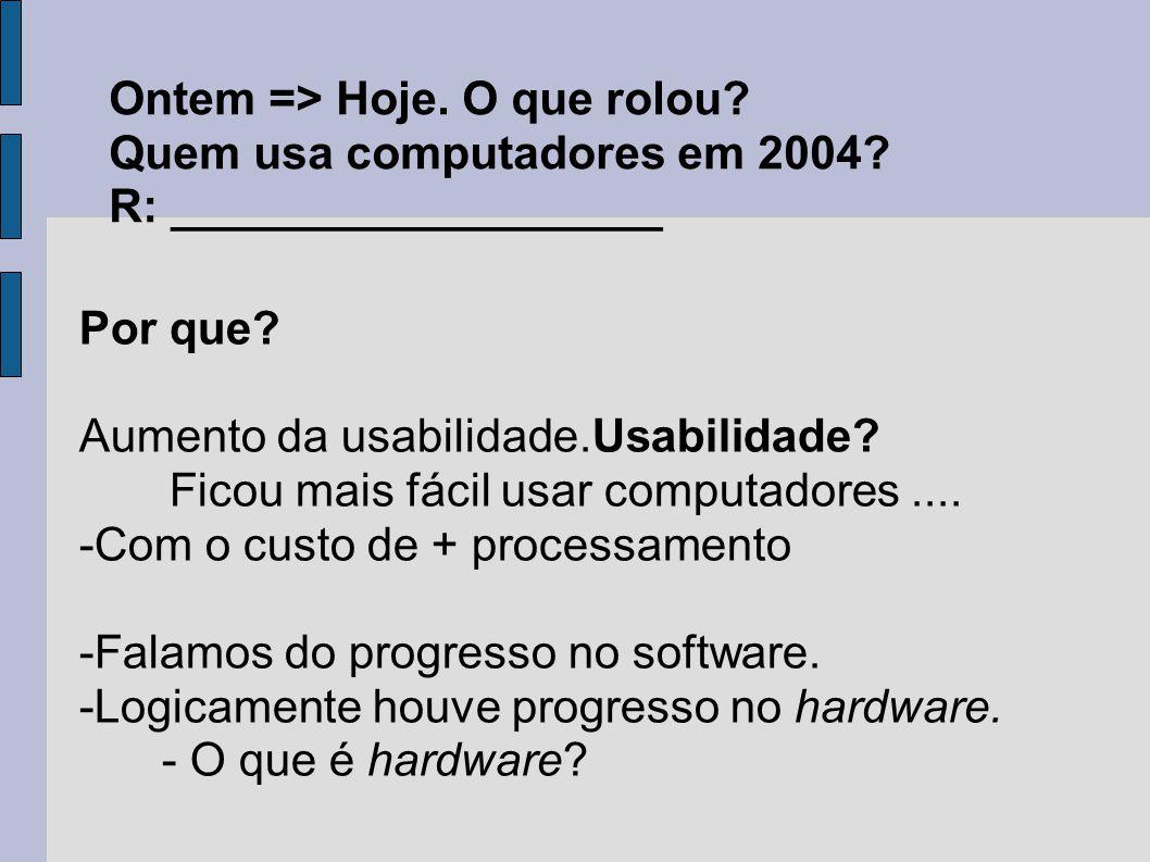Ontem => Hoje. O que rolou? Quem usa computadores em 2004? R: ___________________ Por que? Aumento da usabilidade.Usabilidade? Ficou mais fácil usar c