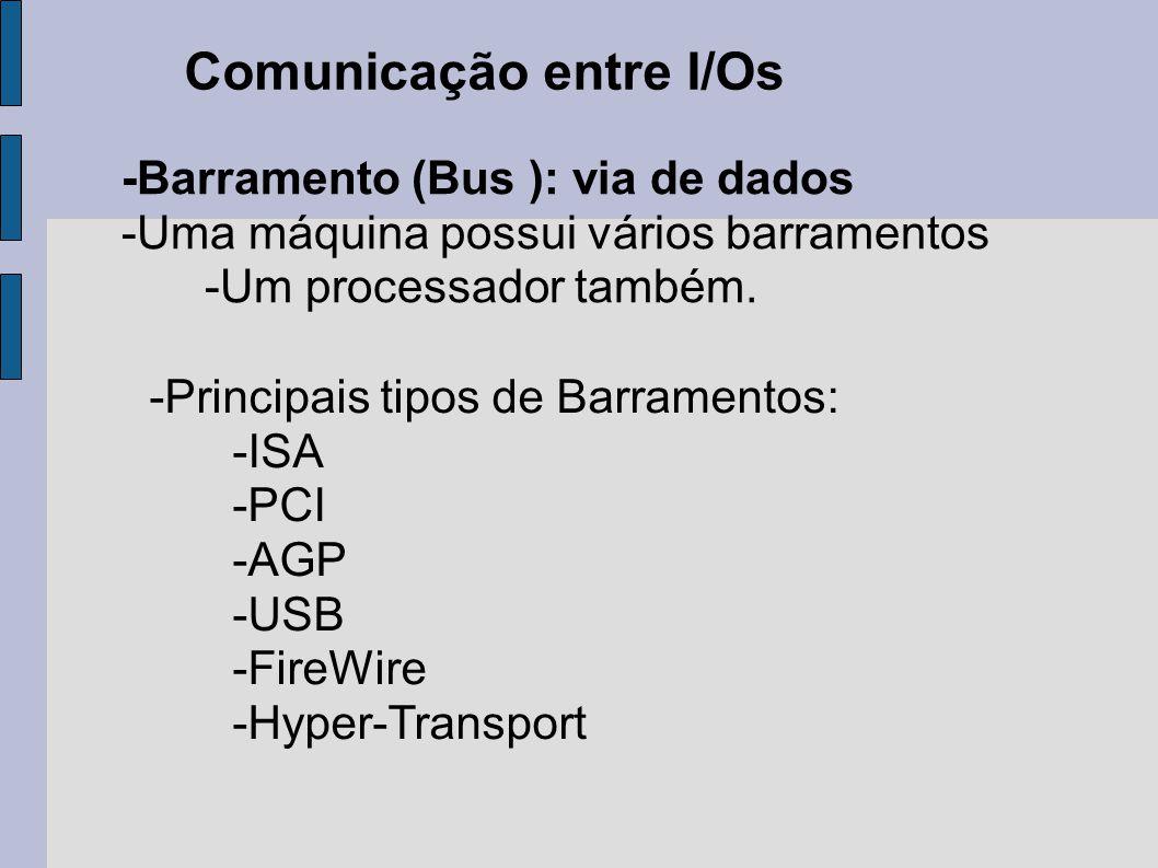 Comunicação entre I/Os -Barramento (Bus ): via de dados -Uma máquina possui vários barramentos -Um processador também. -Principais tipos de Barramento