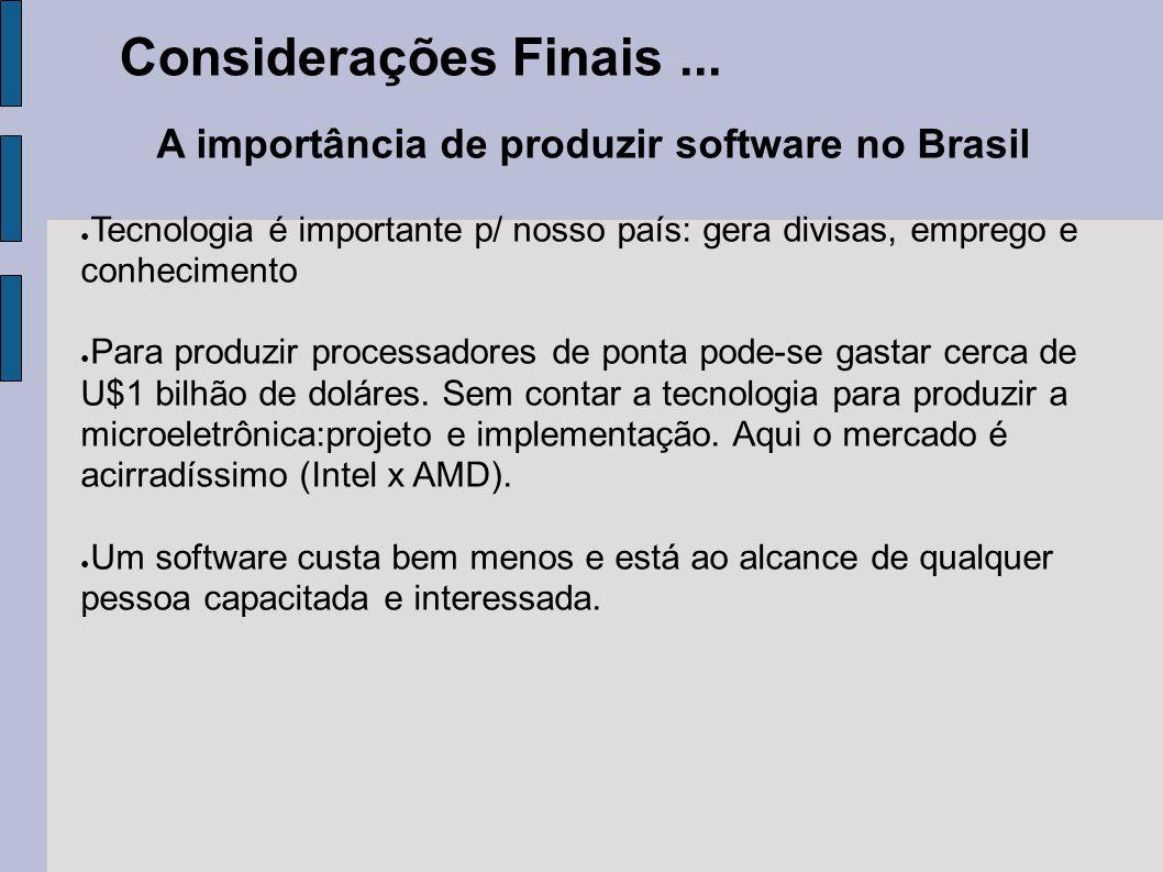 A importância de produzir software no Brasil ● Tecnologia é importante p/ nosso país: gera divisas, emprego e conhecimento ● Para produzir processador