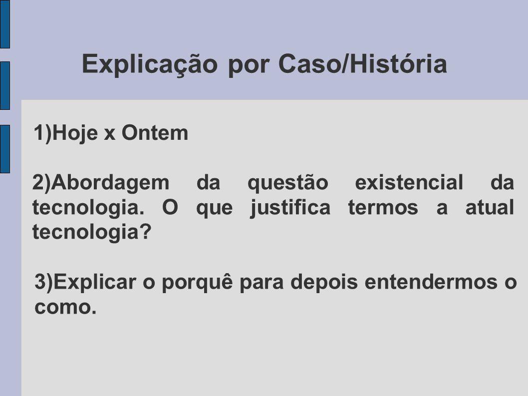 Explicação por Caso/História 1)Hoje x Ontem 2)Abordagem da questão existencial da tecnologia. O que justifica termos a atual tecnologia? 3)Explicar o