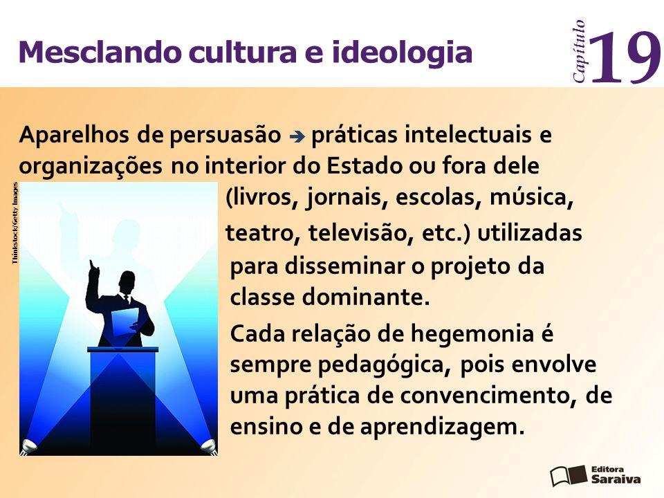Mesclando cultura e ideologia Capítulo 19 para disseminar o projeto da classe dominante. Cada relação de hegemonia é sempre pedagógica, pois envolve u