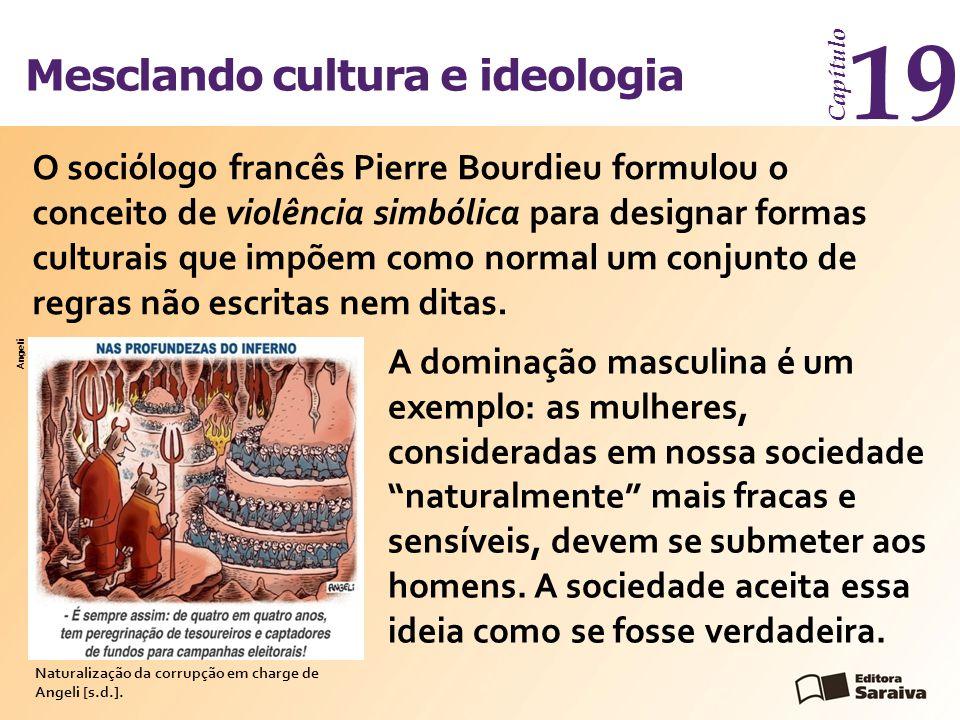 """Mesclando cultura e ideologia Capítulo 19 A dominação masculina é um exemplo: as mulheres, consideradas em nossa sociedade """"naturalmente"""" mais fracas"""
