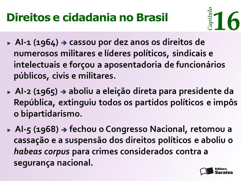 Direitos e cidadania 14 Capítulo Direitos e cidadania no Brasil 16 Capítulo AI-1 (1964)  cassou por dez anos os direitos de numerosos militares e líd