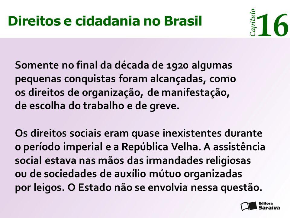 Direitos e cidadania 14 Capítulo Direitos e cidadania no Brasil 16 Capítulo Somente no final da década de 1920 algumas pequenas conquistas foram alcan