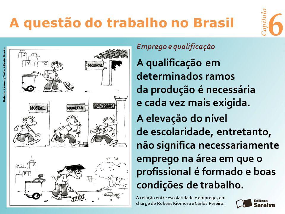 6 A questão do trabalho no Brasil Capítulo Emprego e qualificação A qualificação em determinados ramos da produção é necessária e cada vez mais exigida.