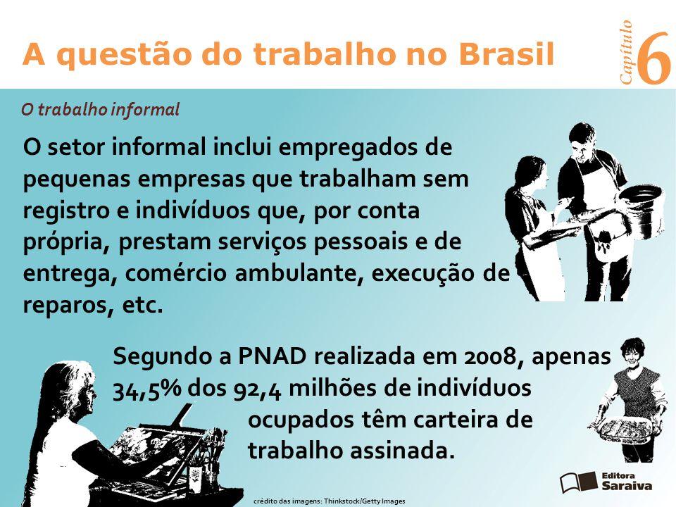 6 A questão do trabalho no Brasil Capítulo O setor informal inclui empregados de pequenas empresas que trabalham sem registro e indivíduos que, por conta própria, prestam serviços pessoais e de entrega, comércio ambulante, execução de reparos, etc.