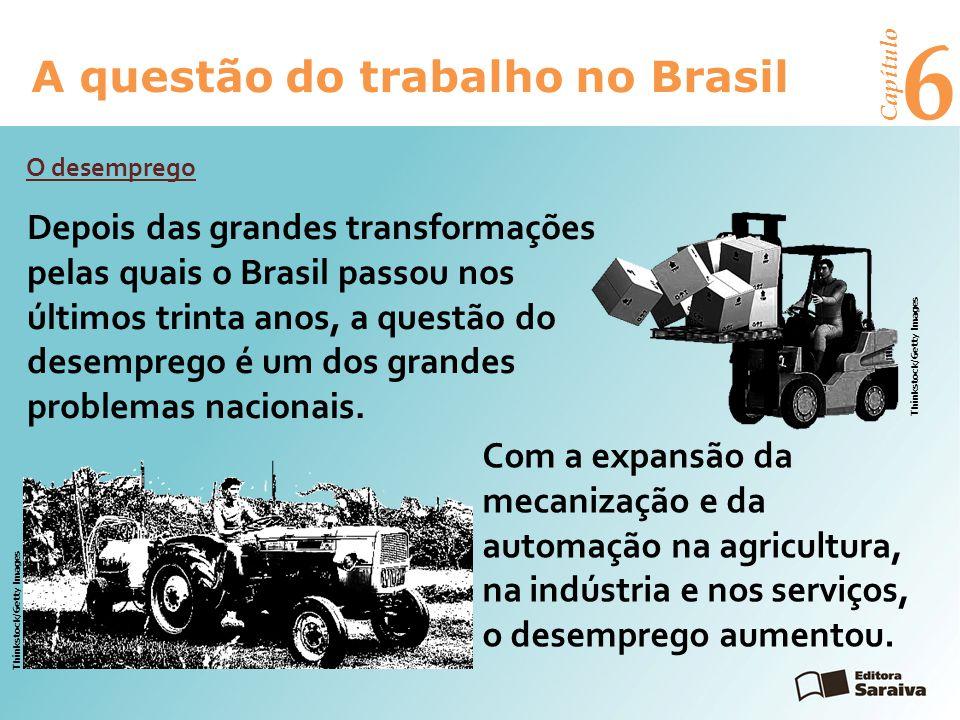 6 A questão do trabalho no Brasil Capítulo O desemprego Depois das grandes transformações pelas quais o Brasil passou nos últimos trinta anos, a questão do desemprego é um dos grandes problemas nacionais.