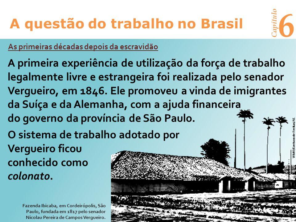 6 A questão do trabalho no Brasil Capítulo A vinda de imigrantes ao Brasil ficou estagnada até 1880, quando foi retomada.