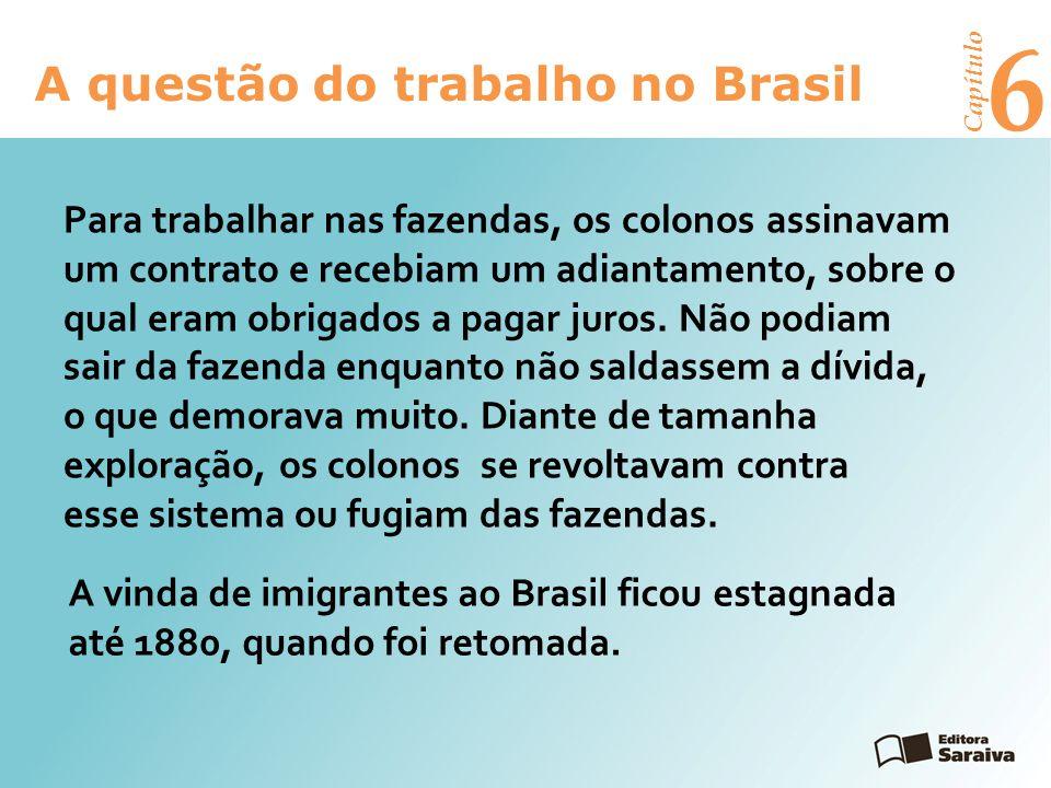 6 A questão do trabalho no Brasil Capítulo A maioria dos imigrantes ia para o campo, mas muitos se estabeleciam em cidades como São Paulo e Rio de Janeiro, onde trabalhavam nas indústrias nascentes, no pequeno comércio ou como vendedores ambulantes.
