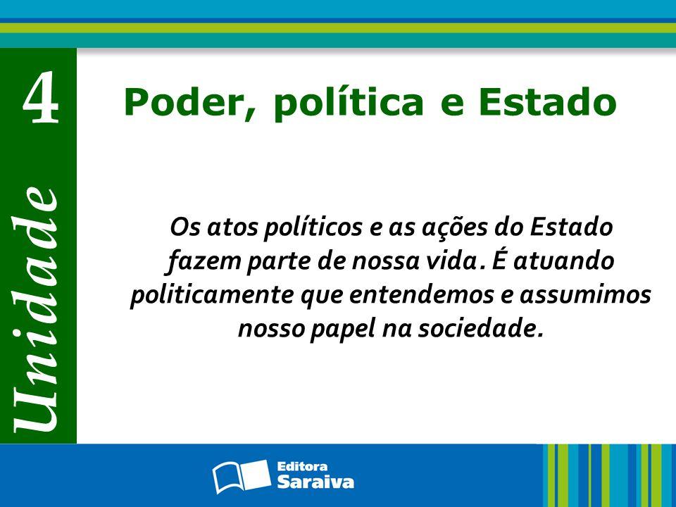 Unidade 4 Poder, política e Estado Os atos políticos e as ações do Estado fazem parte de nossa vida. É atuando politicamente que entendemos e assumimo