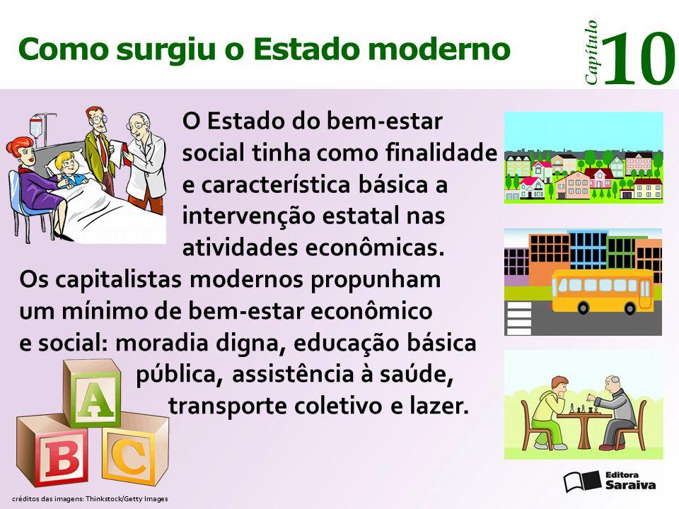 Como surgiu o Estado moderno Capítulo 10 O Estado do bem-estar social tinha como finalidade e característica básica a intervenção estatal nas atividades econômicas.