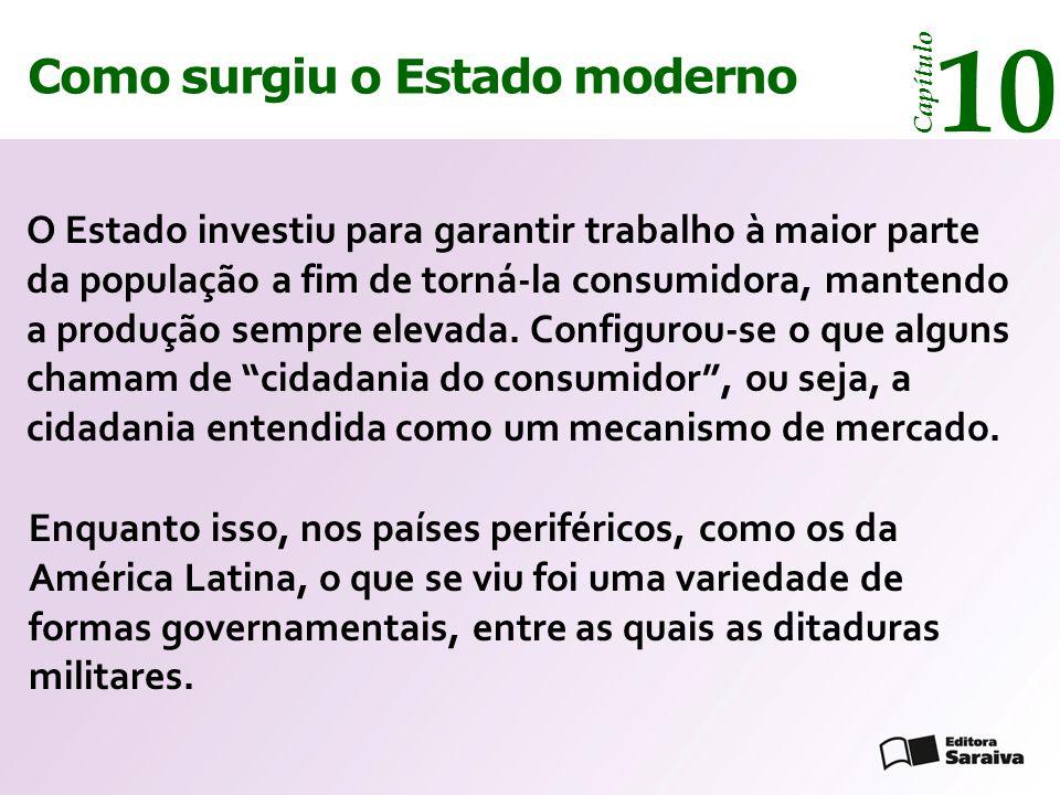 Como surgiu o Estado moderno Capítulo 10 Enquanto isso, nos países periféricos, como os da América Latina, o que se viu foi uma variedade de formas governamentais, entre as quais as ditaduras militares.