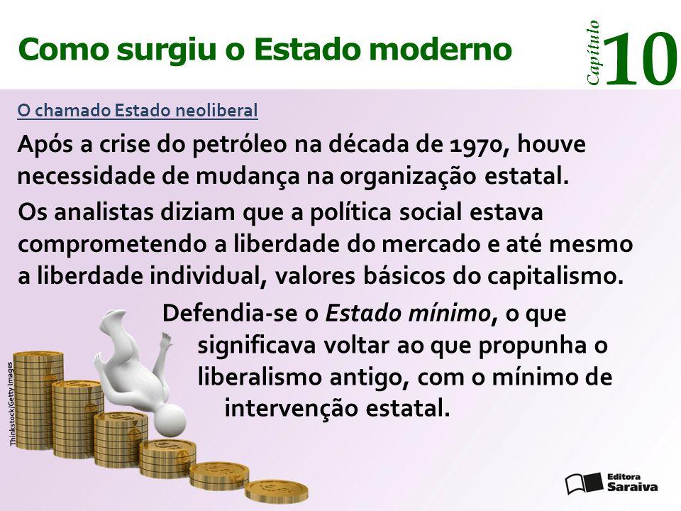 Como surgiu o Estado moderno Capítulo 10 O chamado Estado neoliberal Os analistas diziam que a política social estava comprometendo a liberdade do mercado e até mesmo a liberdade individual, valores básicos do capitalismo.