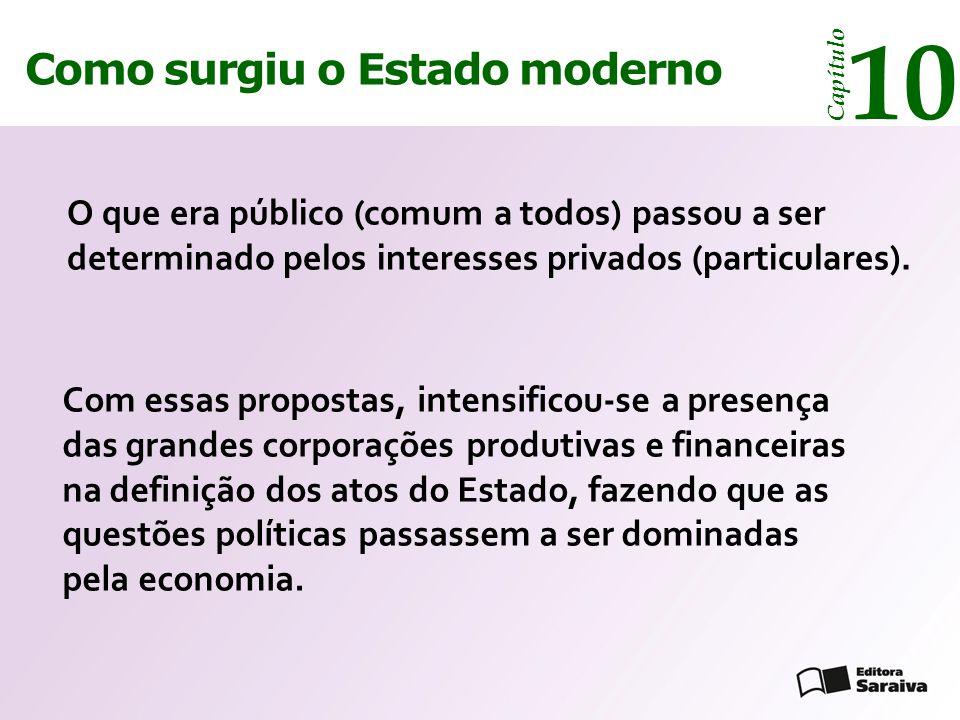 Como surgiu o Estado moderno Capítulo 10 Com essas propostas, intensificou-se a presença das grandes corporações produtivas e financeiras na definição