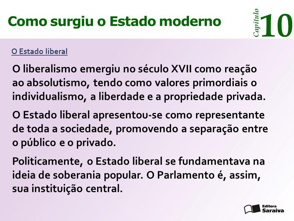 Como surgiu o Estado moderno Capítulo 10 O Estado liberal O liberalismo emergiu no século XVII como reação ao absolutismo, tendo como valores primordi