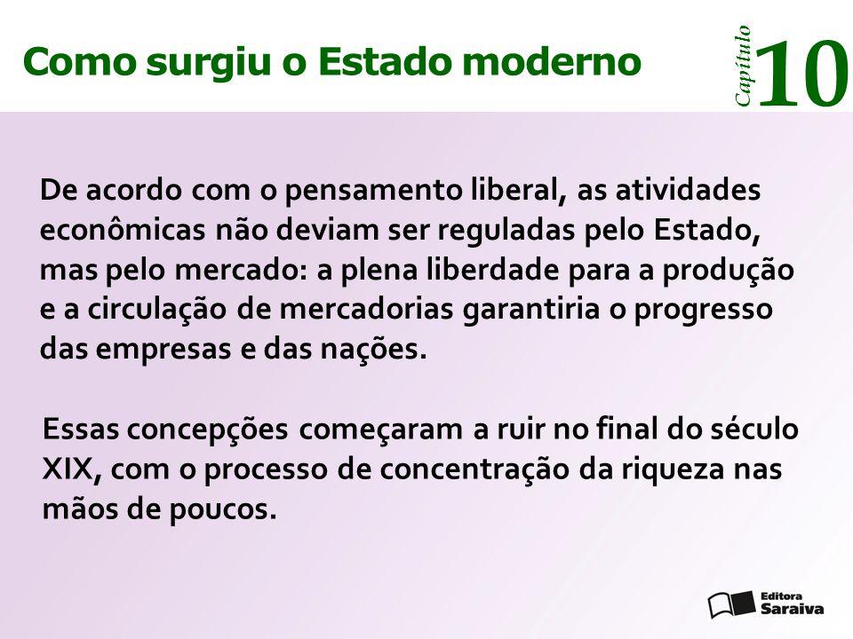 Como surgiu o Estado moderno Capítulo 10 De acordo com o pensamento liberal, as atividades econômicas não deviam ser reguladas pelo Estado, mas pelo m