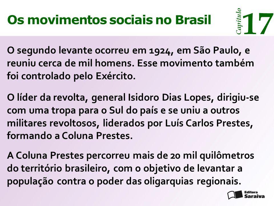 Os movimentos sociais no Brasil 17 Capítulo O segundo levante ocorreu em 1924, em São Paulo, e reuniu cerca de mil homens. Esse movimento também foi c