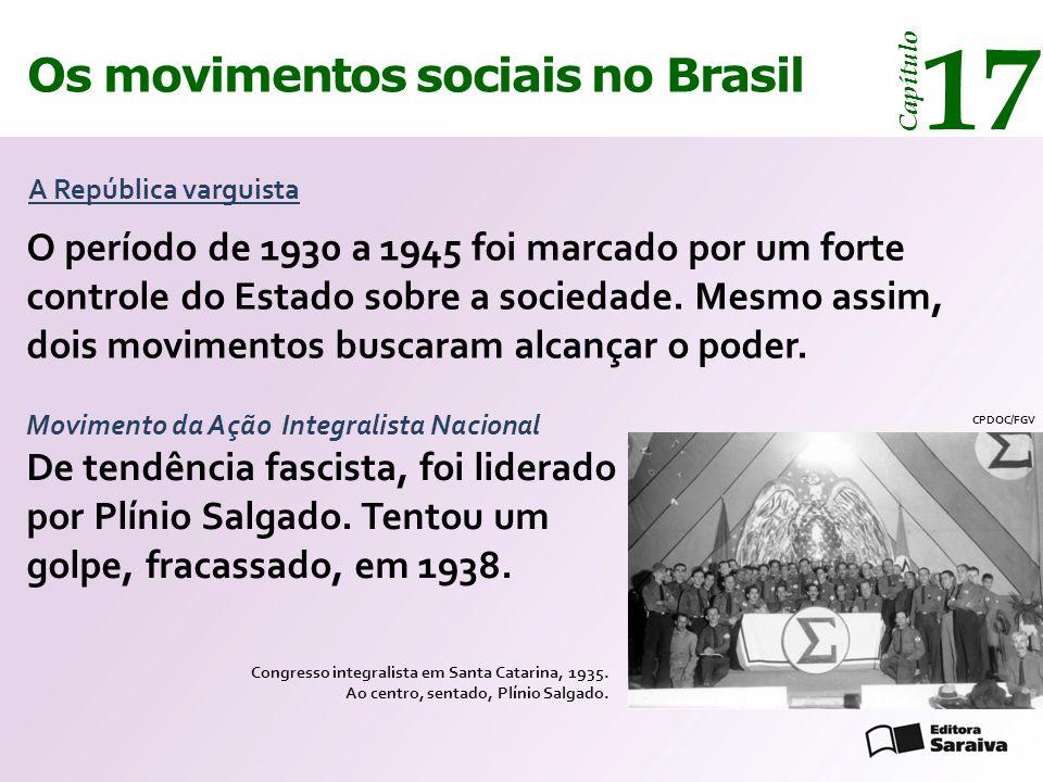 Os movimentos sociais no Brasil 17 Capítulo A República varguista O período de 1930 a 1945 foi marcado por um forte controle do Estado sobre a socieda